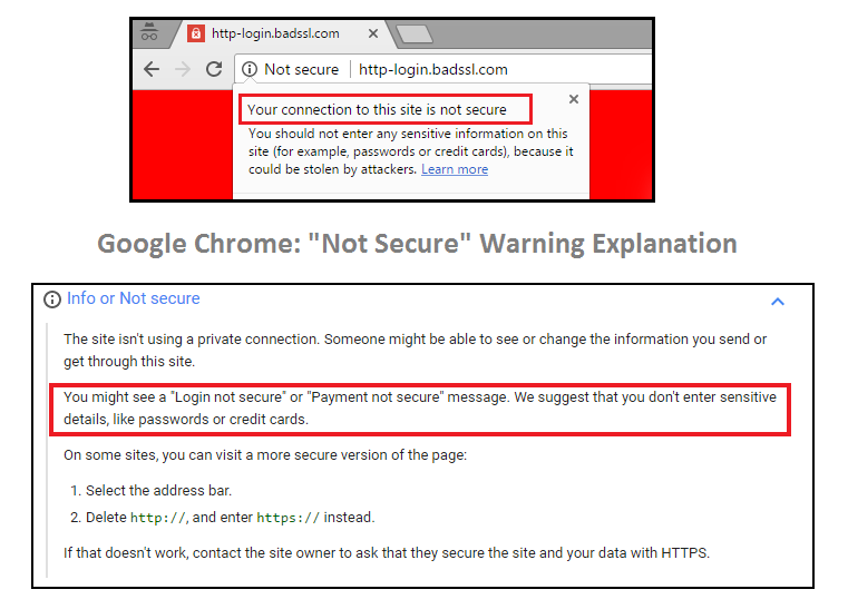 "Google Chrome: ""Not Secure"" warning and explanation"