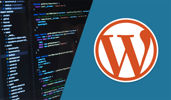 Picture showing JavaScript code on the left side and the WordPress logo on the right