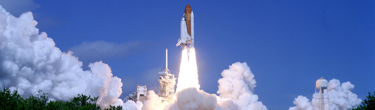 Space shuttle launching into space